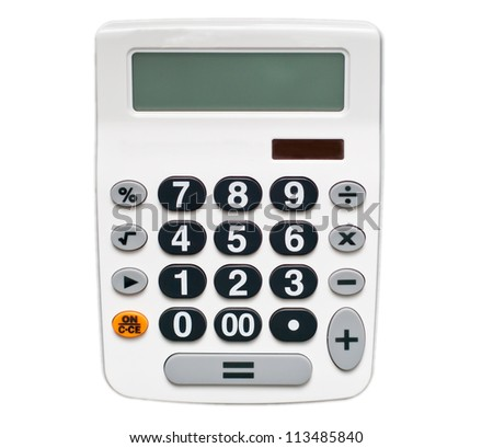 white calculator isolated on white - stock photo