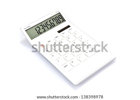 White calculator on the white background - stock photo