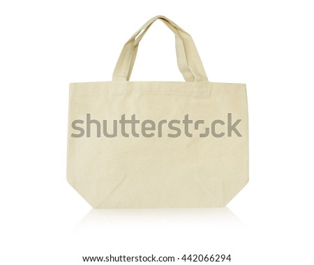 white calico bags for recycle isolated on the white background. This has clipping path.