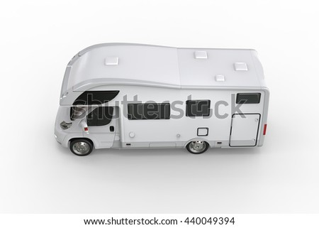 White camper vehicle - top side view - isolated on white background - 3D illustration - stock photo