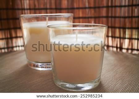 white candles - stock photo