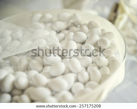 white candy, confetti  for a wedding - stock photo
