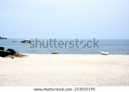 White Canoe on the Beach of Lake Malawi, Malawi, Africa - stock photo