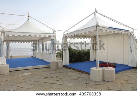 White Canopy Tent for Exibition Event and Party - stock photo