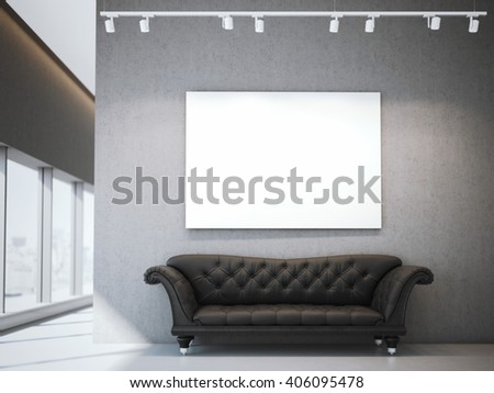 White canvas and luxury sofa in modern office interior. 3d rendering - stock photo