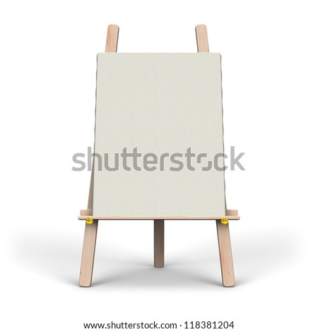White Canvas On Easel Front View - stock photo