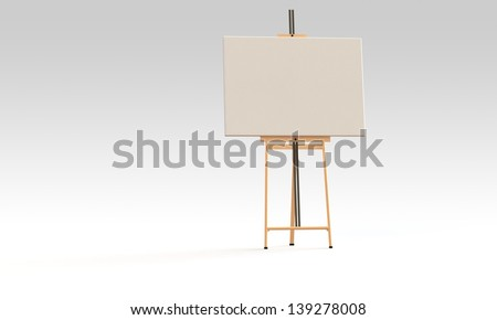 White canvas on easel  isolated on white