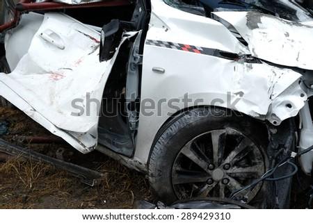 White Car Accident - stock photo