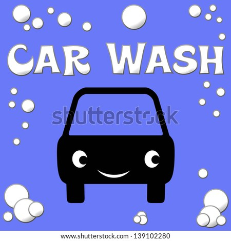 white car and bubbles on blue background illustration - stock photo