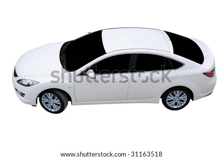 white car top perspective isolated