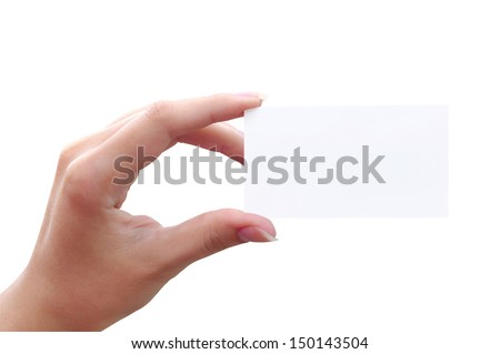 White card in a female hand on a white background