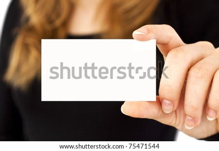 White card in a hand at the woman