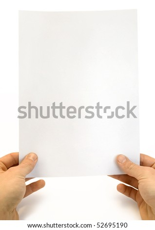 White card in a hands against the white background