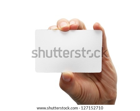 white card in hand on white background - stock photo