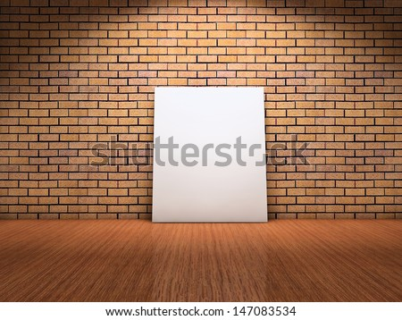 White card label leaning on brick wall