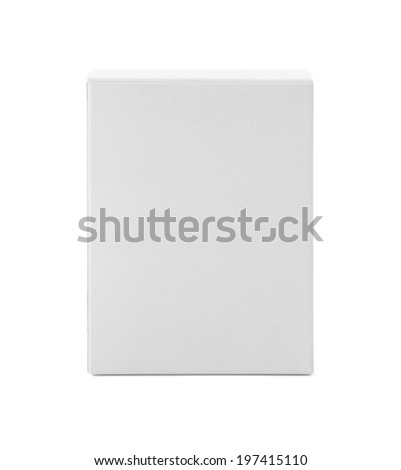 White cardboard box front view isolated on white background - stock photo