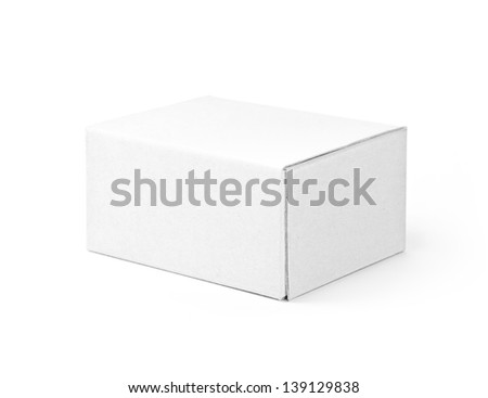 White cardboard box isolated on a White background with clipping path - stock photo