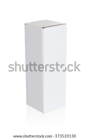 White cardboard box on a white background - stock photo