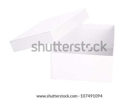 white cardboard box with clipping path - stock photo