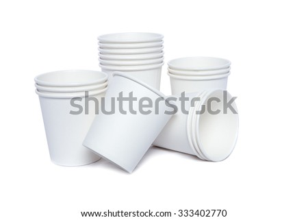 White cardboard cups for hot and cold drinks - stock photo