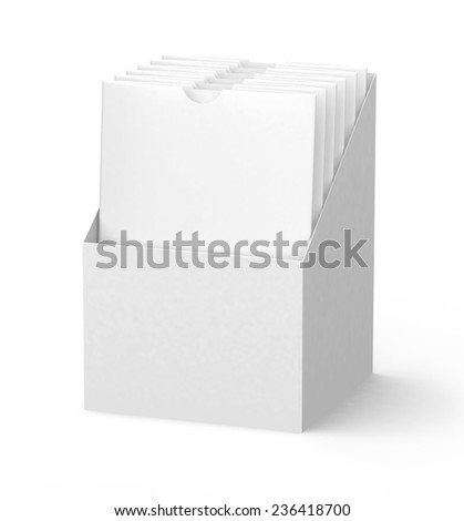 White Cardboard holder with blank Medicine Drugs Or Coffee, Salt, Sugar, Pepper, Spices, Sachet, Sweets, Candy packaging Or Condom Wrapper sleeves isolated on white background. - stock photo