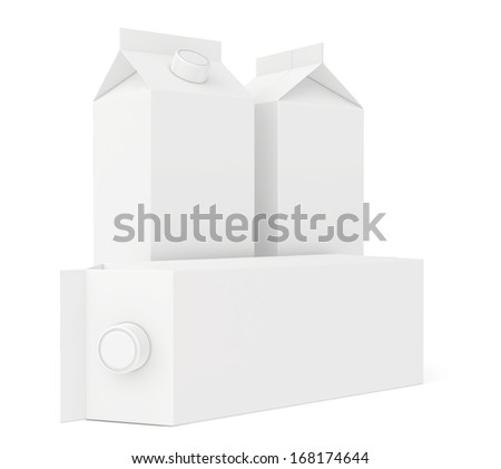 white cardboard package for juice and milk. 3d render. - stock photo