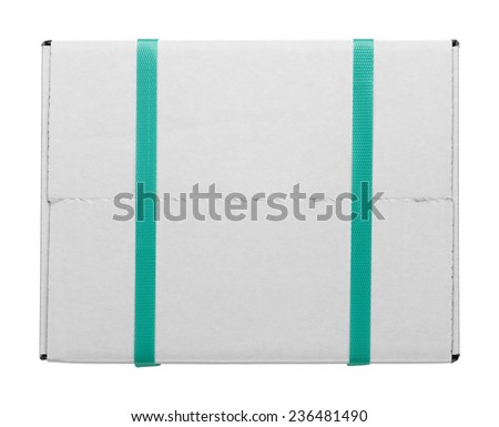 White Cardboard Shipping Box With Green Plastic Straps Isolated on White Background. - stock photo