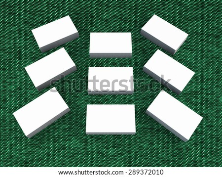 white cards on a green background . Template for branding identity. For graphic designers presentations and portfolios.