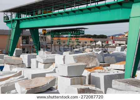 white carrara marble block - stock photo