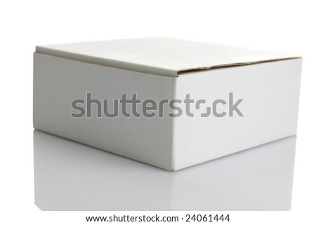 White carton box isolated on white background - stock photo