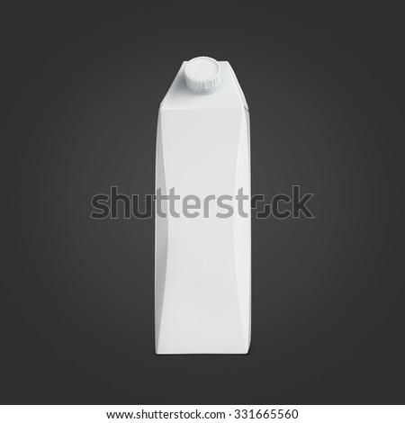 White carton package for milk and juice. Food and drink plastic blank. Template ready for your design. Isolated on black background - stock photo