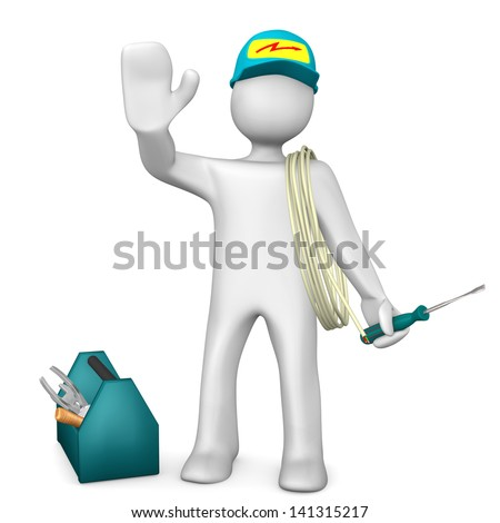 White cartoon character as electrician with toolbox and cable. White background.