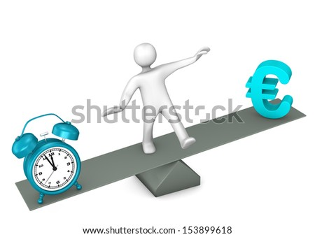 White cartoon character between time and money. - stock photo
