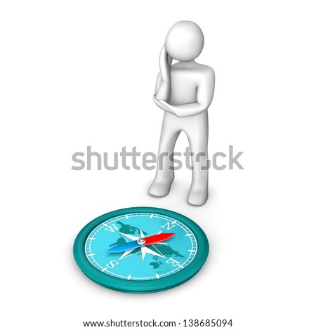 White cartoon character contemplates against a compass. White background. - stock photo