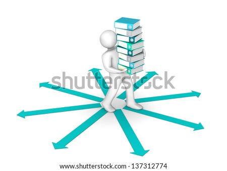 White cartoon character distributes folders on the white background with the green arrows. - stock photo