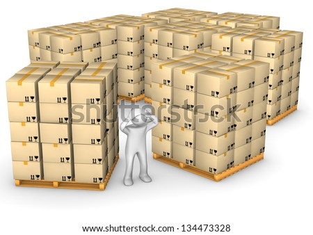 White cartoon character in the full warehouse on the white background. - stock photo