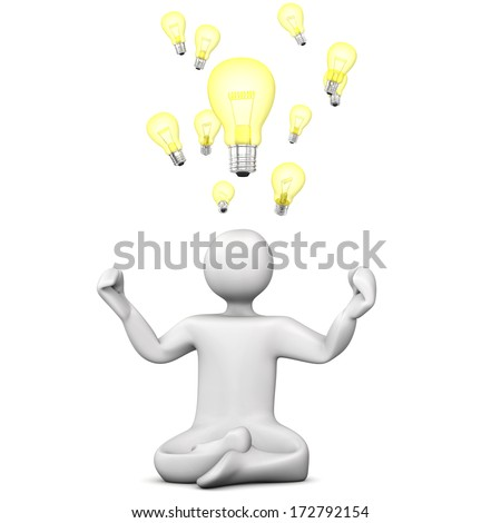 White cartoon character meditates and has ideas. White background.