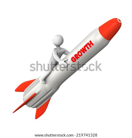 White cartoon character on the rocket with text Growth. - stock photo