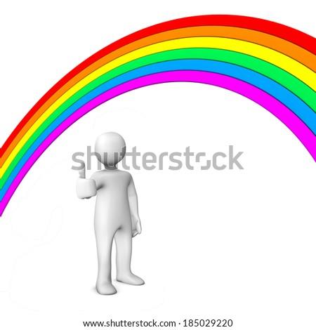 White cartoon character runs away from rainbow. White background. - stock photo