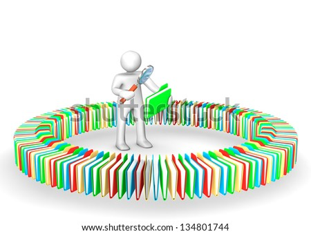 White cartoon character search in the folders. - stock photo