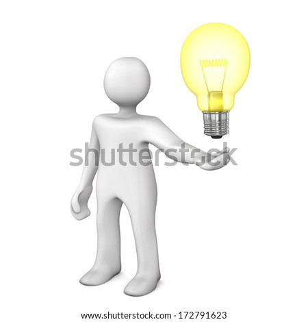 White cartoon character with big bulb. White background.