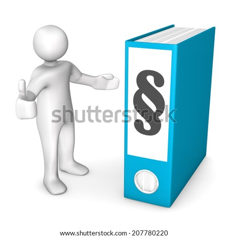 White cartoon character with blue folder with paragrah symbol. - stock photo