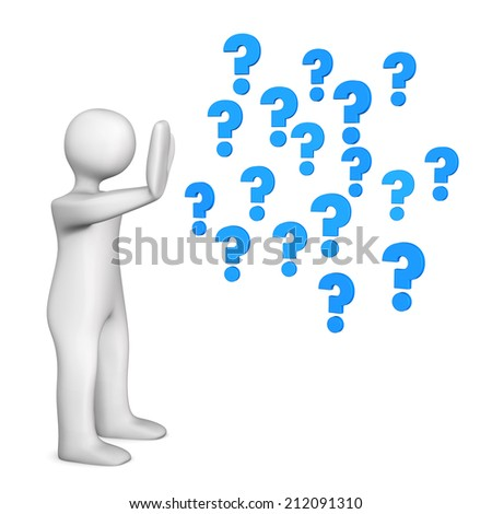 White cartoon character with blue questions marks. White background. - stock photo