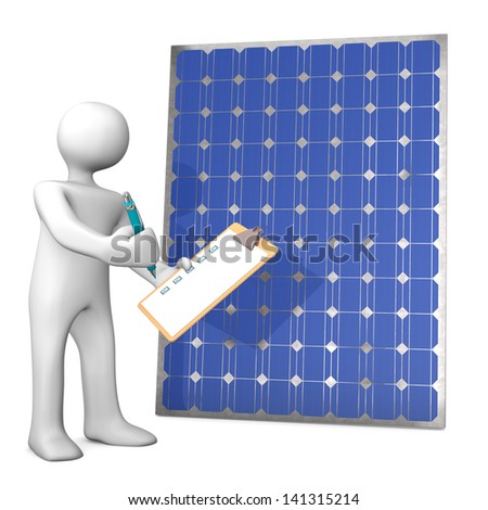 White cartoon character with clipboard and solar panel.