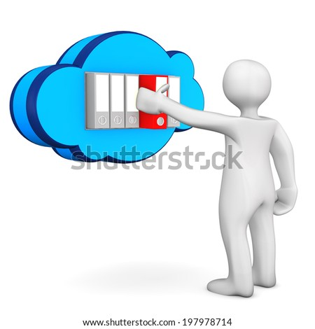 White cartoon character with cloud and folders. White background. - stock photo