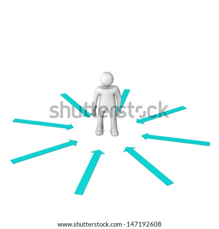 White cartoon character with cyan arrows. White background. - stock photo