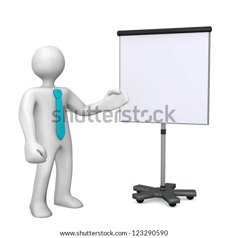 White cartoon character with cyan tie and chart on white background.
