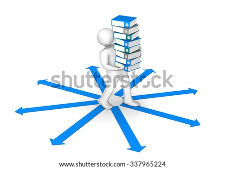White cartoon character with folders and blue arrows on the white. 3d illustration. - stock photo