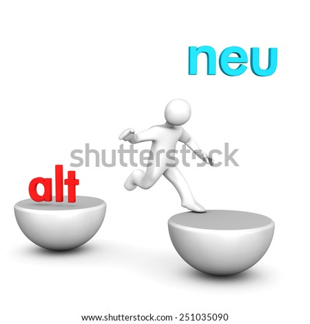"White cartoon character with german text ""alt"" and ""neu"", translate ""old"" and ""new""."