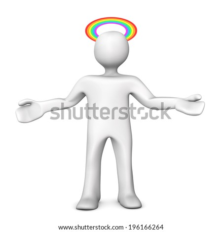 White cartoon character with gloriole in rainbow colors. White background. - stock photo